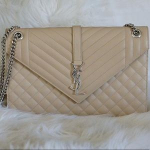 YSL Beige Quilted Large College Envelope Bag